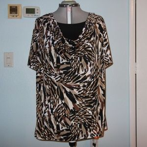 Brittany Black Woman Plus Size 3X Brown Blouse Top